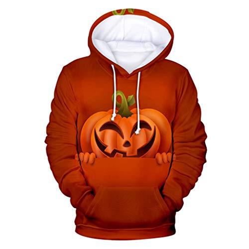 Honestyi Frauen Halloween Horror 3D Print Party Langarm Pullover mit Kapuze Sweatshirt E 01464 YH03 Damen Loose Halloween Pumpkin 3D Print Hoodie