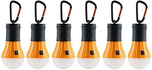 AceCamp 6 x Camping Accessories I Zubehör I Hochwertige LED Campinglampe I Lantern Light I Wasserdicht ohne Strom, 6er Pack, Orange Schwarz, 102863-ace