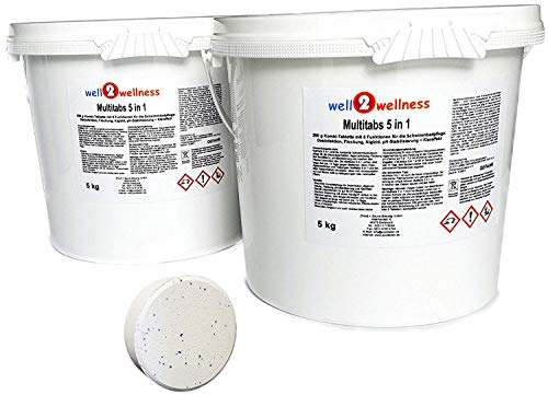 well2wellness Chlor Multitabs 5 in 1 200g mit 93% Aktivchlor 10kg (2 x 5kg) -