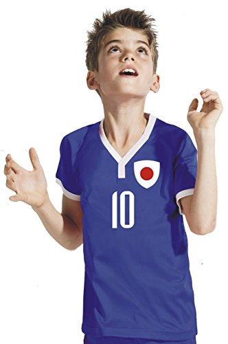 Aprom-Sports Japan Kinder Trikot - Hose Stutzen inkl. Druck Wunschname + Nr. BBB WM 2018 (140)