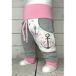 Baby Pumphose mit Tasche Gr. 50-104 Anker Grau Rosa Weiß handmade Puschel-Design