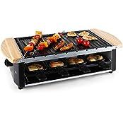 Klarstein Chateaubriand Raclette Tischgrill (1200 Watt, stufenlos regelbar, extra große Grill-Platte, 8 Spieße, 8 Raclette-Pfännchen) schwarz-silber