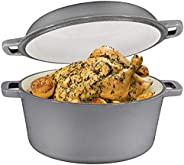 2 in 1 Enameled Cast Iron Double Dutch Oven & Skillet Lid, 5-Quart, Induction, Electric, Gas & In Oven