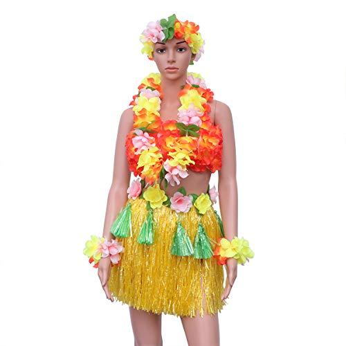 waiian Gras Rock Set Luau Leis Kostüm Set mit Blume Stirnband Armband Halskette BH für Party (gelb) ()
