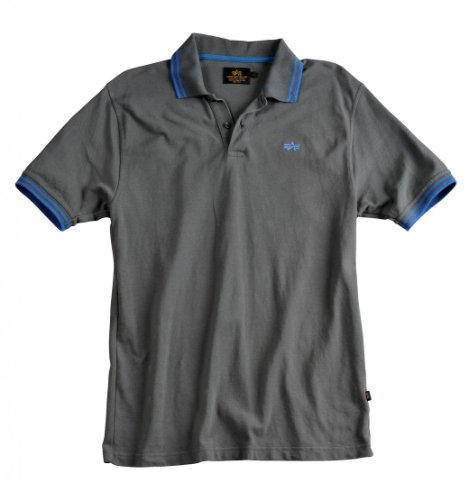 Alpha Industries Twin Stripe Polo greyblack/blue