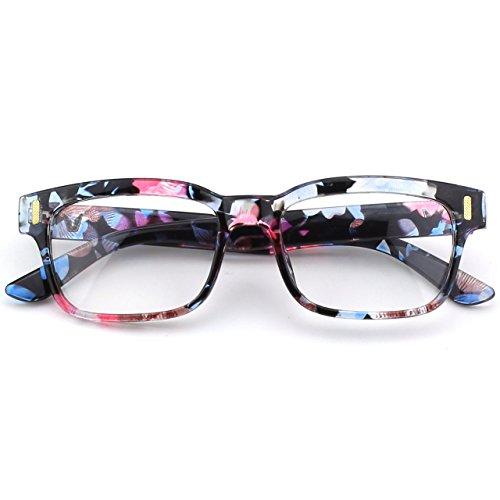 CGID CN84 Modebrille ohne Stärke klar Nerd Clear Brille,Mehrfarbig