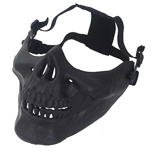 (HermosaUKnight Skull Skeleton Half Face Protective Mask for Halloween Party Airsoft Mask Face Mask Hunting Tactical Outdoor CS Face Mask)