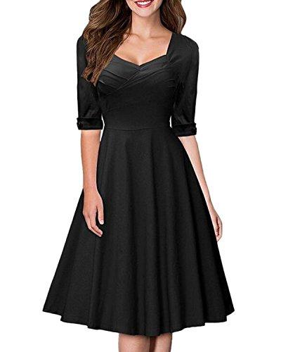 Auxo Femme Sexy Rétro Col V Manches 3/4 Slim Taille Haute Partie Maigre Swing Plissée Robe de Soirée Noir