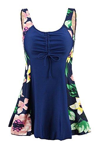 Ecupper Damen Einteiler Badeanzug Gepolstert Bauchweg Badekleid mit Shorts Blumen Muster Plus Size Navy-Lilie DE 50-52 - Shorts Swim Womens Plus