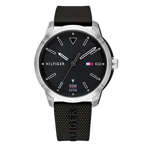 Tommy Hilfiger Herren Analog Quarz Uhr mit Silikon Armband 1791622