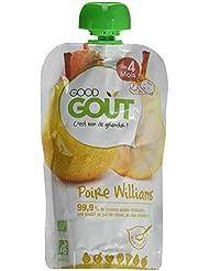 Good Goût Bio Gourde de Purée de Fruits Poire Williams dès 4 Mois 8 Gourdes de 120 g