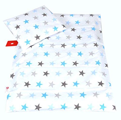 BABYLUX 2 tlg. Set Bezug für Kinderwagen Stubenwagen oder Wiege Garnitur Bettwäsche Kissen Decke 60 x 78 cm (94. Sterne Blau)