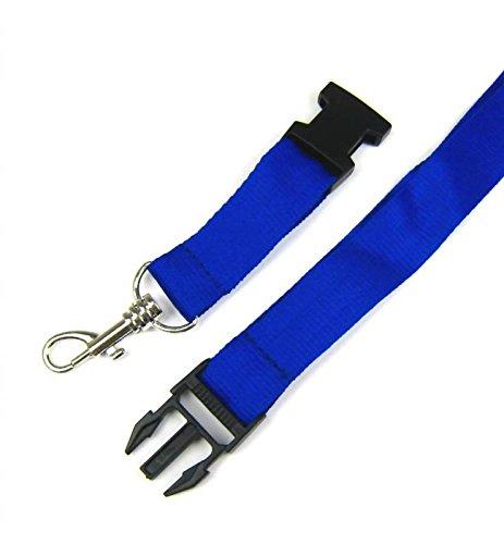 50x Schlüsselbänder blau Lanyard 2 x 55cm mit Haken