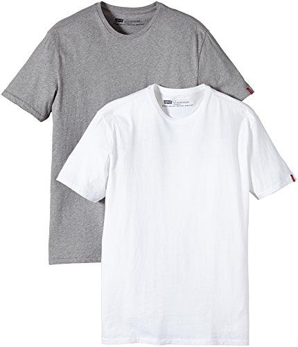 Levi's Herren T-Shirt Levi's 2 Pack Crew Neck Tee  82176, Grau (Heather Grey/White), S / 48 -