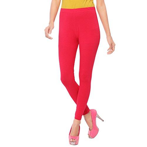 Cherry Dark-Pink Plain Ankle Leggings for Women