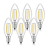 TAMAYKIM C35 2W Dimmbar Glühfaden LED Kerze Lampe, 2700K Warmweiß 200 Lumen, Ersatz für 20W Glühlampen, E14 Fassung, Torpedo Form, 360° Abstrahlwinkel, 6er-Pack