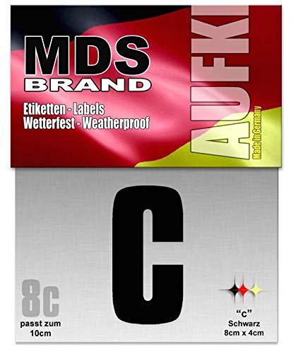 MDS Brand 10cm Hausnummer Buchstaben Aufkleber Selbstklebend Ersatzziffern Schwarz (C)