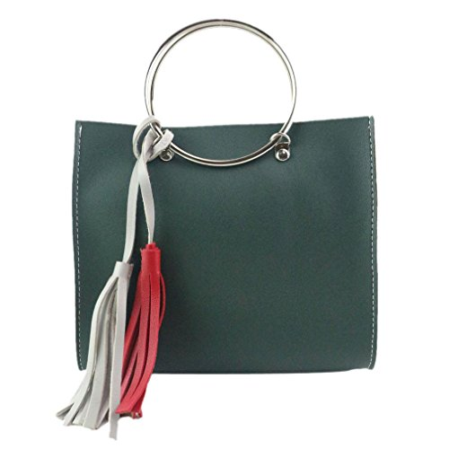 Donna Fashion Hit Colore Nappa Pu Borsa In Pelle Grande Tote Borsa Signore by Kangrunmy Verde