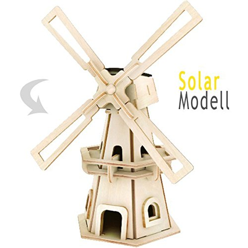 Preisvergleich Produktbild matches21 Holz Bausatz Windmühle mit Solarzelle 34-tlg. 8x12x21 cm Steckbausatz f. Kinder Holzbausatz