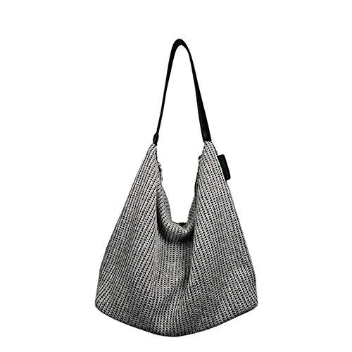e Hobo Einkaufstasche Weave Dumpling Lässige Schultertasche Weibliche Kaschmir Woven Handtasche Große Kapazität,Gray ()