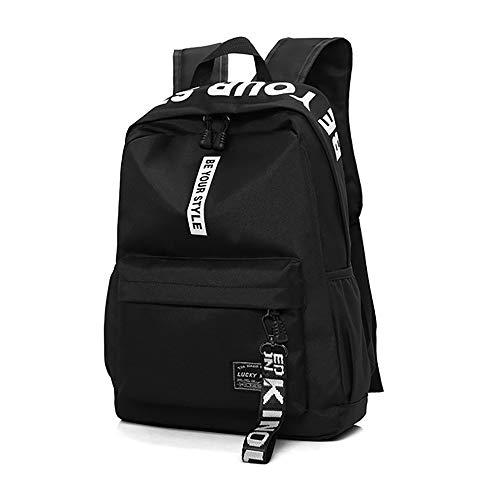 HENZIN Schulrucksack Teenager Mädchen Schultaschen Canvas Schulrucksäcke wasserdichte Schultasche Schulrucksack Backpack Daypacks Geeignet für 12-15.6 Zoll Laptop Notebook - Schwarz