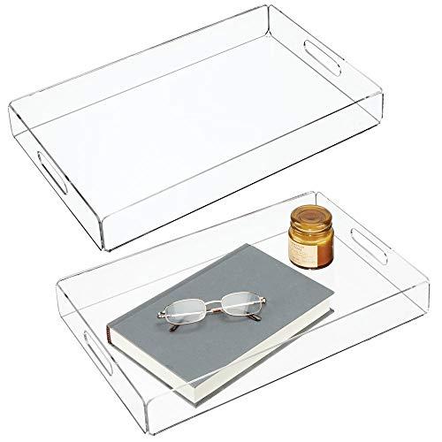 iertablett - kleine Servierplatte mit integrierten Griffen - schönes Tablett zum stilvollen Servieren von Frühstück, Käse, Snacks etc. - durchsichtig ()