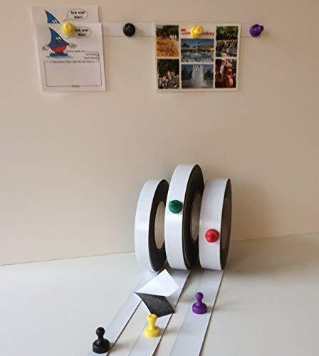Meterware!! Ferroband selbstklebend 18mm x 0,6mm Weiß Glänzend - Magnethaftend Wandleiste Selbstklebend, Eisenband, Ferroleiste