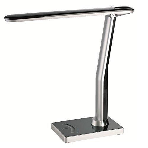 LED Schreibtischleuchte mit Digitaluhr im Leuchtenkopf | Schreibtischlampe 4-fach dimmbar mit Touchfunktion | Tischleuchte mit LED 4Watt , 240lm