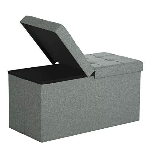 Songmics pouf contenitore poggiapiedi sgabello pieghevole con coperchio apribile lino grigio 76 x 38 x 38 cm lsf41g