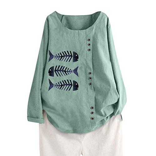 LRWEY Bluse Casual Top Loose Button Leinen Plus Size Täglich Boho Tanic T-Shirt Bluse Tops Lange Ärmel Festliche Tunika Outwear Hoodie Tank Tops Pullover Sweatshirts Kapuzenpullover (Big Guy Kostüm)