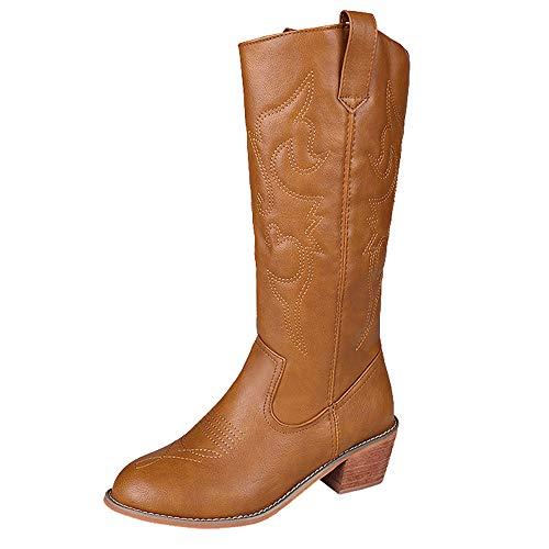 MYMYG Damen Leder Stiefel Martain Boot Frauen Platz Ferse Schuhe Mittelrohr Leder Slip-On Stiefel Runde Kappe Stiefel Halbschaft Winterstiefel Herbst Winter ()
