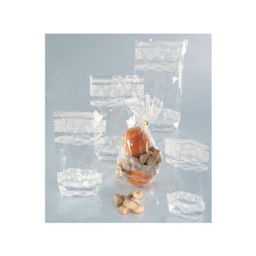 BUDILA® 30 Gebäcktüten klar mit weissem Spitzendruck 180x300mm