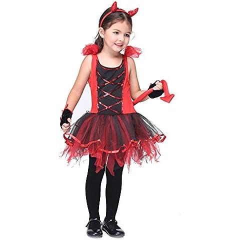 Bigood Vestido de Animación Infantil Forma de Gato Sin Mangas Cuello Redondo Rojo y Negro