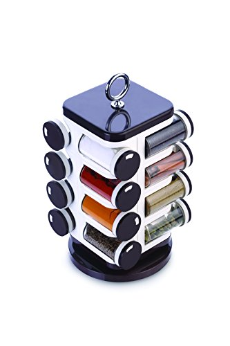 Ganesh 16 Jar Revolving Spice Box, ABS Plastic, Brown