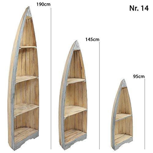 Oriental Galerie Bootsregal Regal im Boots-Design Holzregal Standregal Aufbewahrung Konsole Bord Albesia Holz, Design:Nr. 14, Größe:Klein