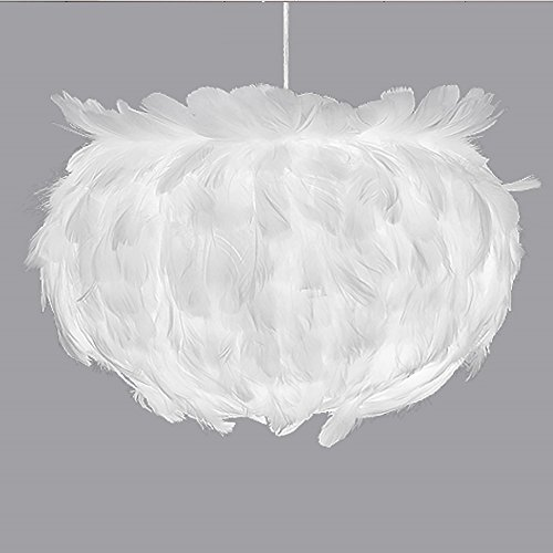 Wanson European Pendelleuchte Lampe Schlafzimmer Restaurant Leuchter Federdecke Lampe Modern Romantisch Pendelleuchte 30Cm E27 Weiß Wohnzimmer Leuchten (Rustikale Geweih Deckenventilator)