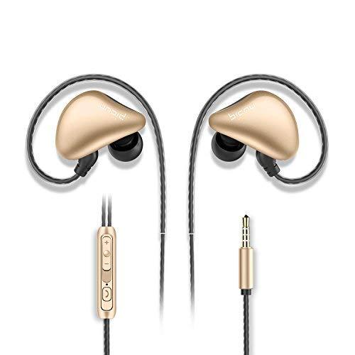 Picun S6 Sport Kopfhörer Ohrhörer mit Mikrofon und Lautstärkeregeler zum Laufen für Fitnessraum, In-Ear Ohrhörer für iPhone / iPod / iPad / Android Geräte (Schwarz Gold)