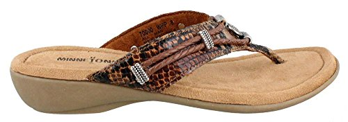 Minnetonka Silverthorne Thong Womens Whiskey Python Man-made Upper