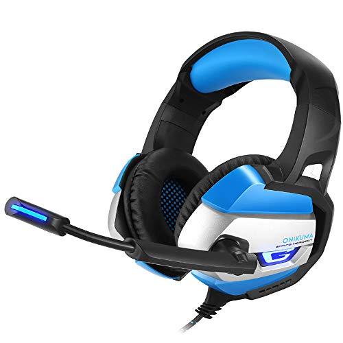 ing-Headset für PS4, PC, Xbox One, DS, PSP Surround-Stereo-Sound, Geräuschunterdrückung, omnidirektionales Mikrofon, Gamer, Bass-Surround, für Laptop, Desktop-Computer mit Mikrofon blau dunkelblau ()