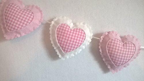 (Mädchen Schlafzimmer Kinderzimmer Schlafzimmer Baby Zimmer Wand Dekoration Rosa und Weiß Gingan Herz Wand Deko Wimpel Girlande Rahmen Mädchen)