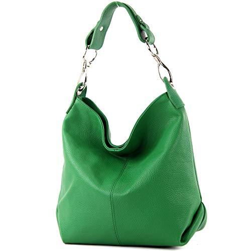 modamoda de - T168 - ital Schulter-/Umhängetasche aus Leder, Farbe:Blattgrün -