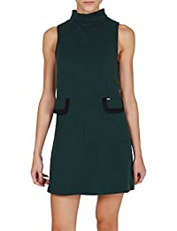 Kling Women's Wasat Green Dress With Rolled Neck