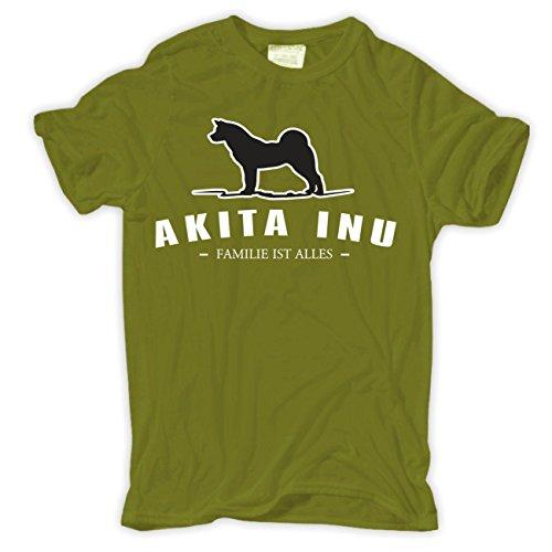 Spaß kostet Männer und Herren T-Shirt Akita Inu - Familie ist Alles Moosgrün