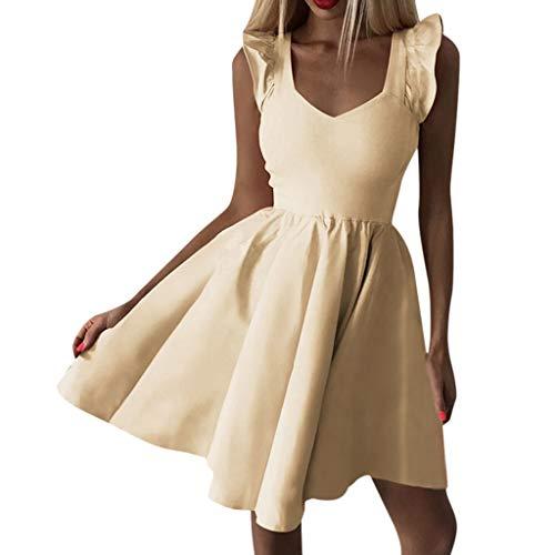 (iHENGH Damen Sommer Rock Lässig Mode Kleider Bequem Frauen Röcke Ärmelloses Damen V Ausschnitt Party Cocktail Damen Mini, figurbetontes Kleid(Gelb, XL))