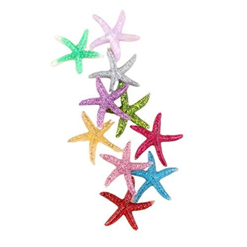 Meiqqm 10 Stück 40 mm Meerestier Seestern-Anhänger aus Kunstharz DIY Scrapbooking Phone Case Deko Craft Cabochons Haar Clip Zubehör