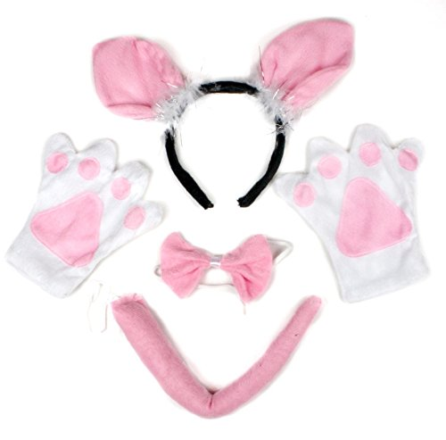 Little Pig Headband Bowtie Tail Gloves 4pc Costume for Child Halloween Party ()