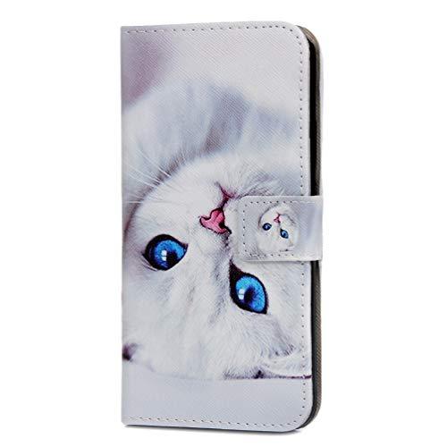 Huawei P Smart Plus 2019 Hülle, Handyhülle Schutzhülle Leder PU Wallet Flip Case Bumper Lederhülle Ledercase Blumen Klapphülle Ultra Slim Dünn Magnetisch für Huawei P Smart Plus 2019 Cat