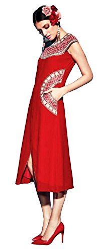 Clickedia Girl's & Women's Beautiful Embroidered Georgette Semi Stitched Red Kurti  available at amazon for Rs.499