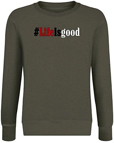 Das Leben ist gut - Life is Good Sweatshirt Jumper Pullover for Men & Women Soft Cotton & Polyester Blend Unisex Clothing X-Large -
