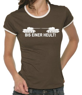 Touchlines Damen Bis einer heult ! Girlie Ringer T-Shirt B9047 Brown